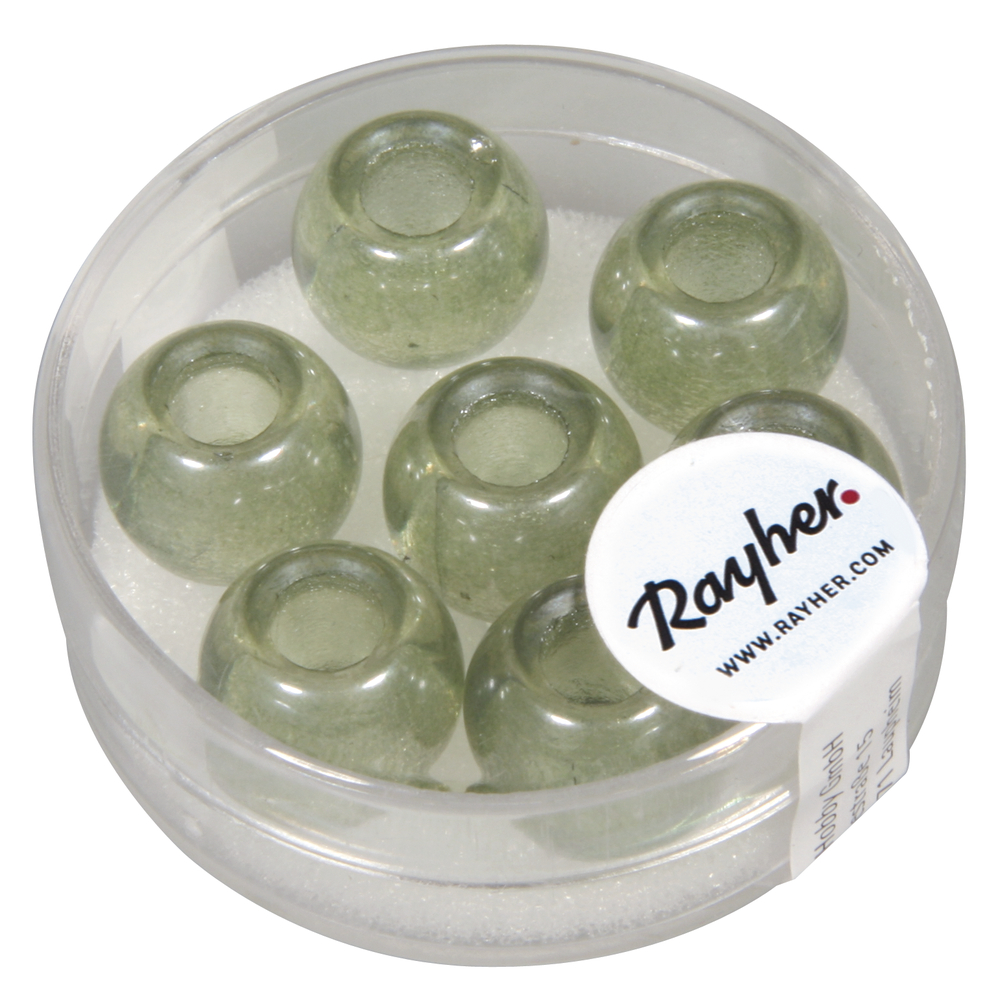 Glas Großloch Perle Magic Flair , 12mm ø, Loch 5mm ø, transparent, Dose 7Stück