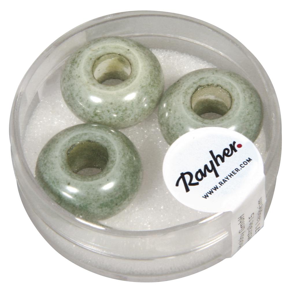Glas Großloch Perle Magic Flair , 16mm ø, Loch 6mm ø, opak, Dose 3Stück