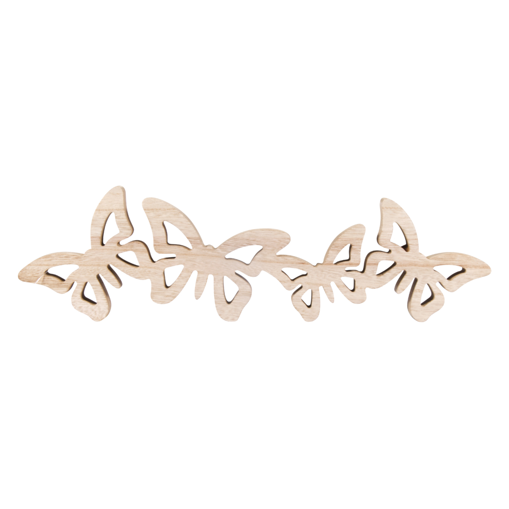 Holz Dekoobjekt Schmetterlinge, 40x11,5x2cm, natur