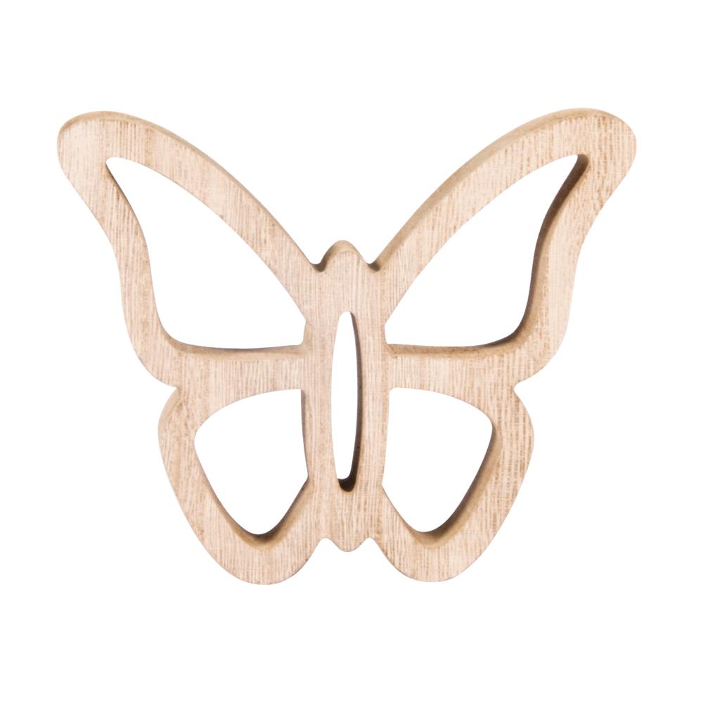 Holz Schmetterling, 14x11,5x2cm, natur