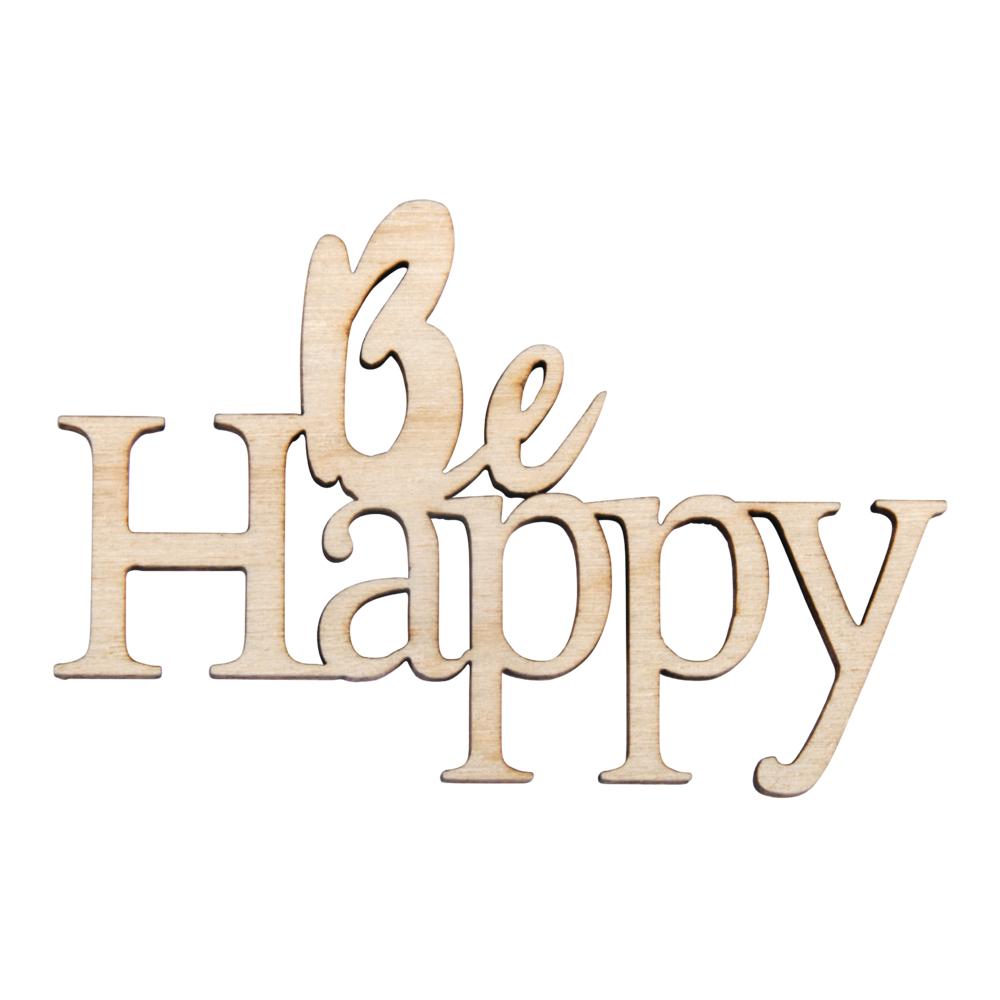 Holz-Minischrift Be happy, FSCMix Cred, 7,2x4,7x0,3cm, SB-Btl 4Stück, natur