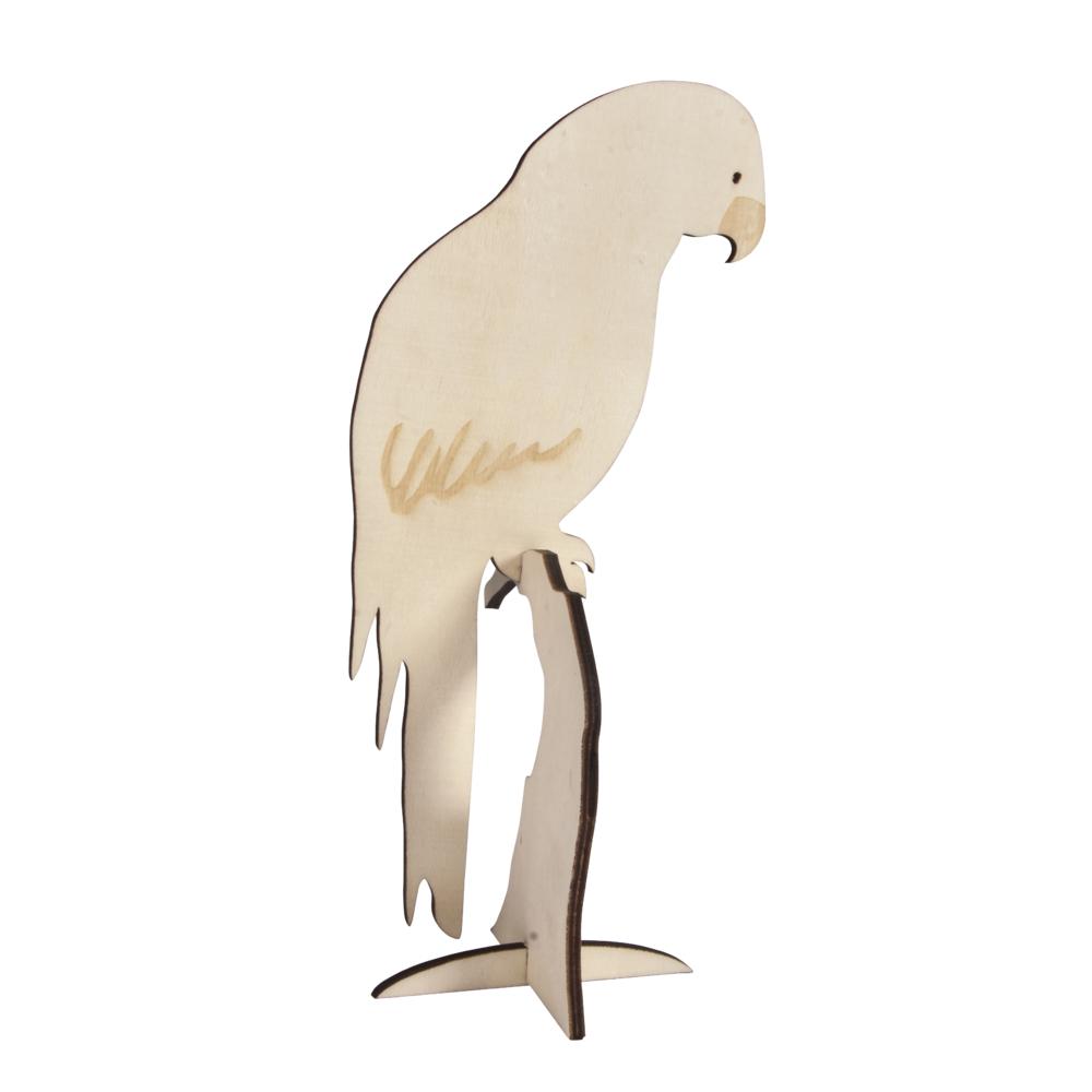 Holz-Papagei FSC 100%, zum Stellen, 10x24cm, Motiv 1seitig, SB-Btl 1Stück