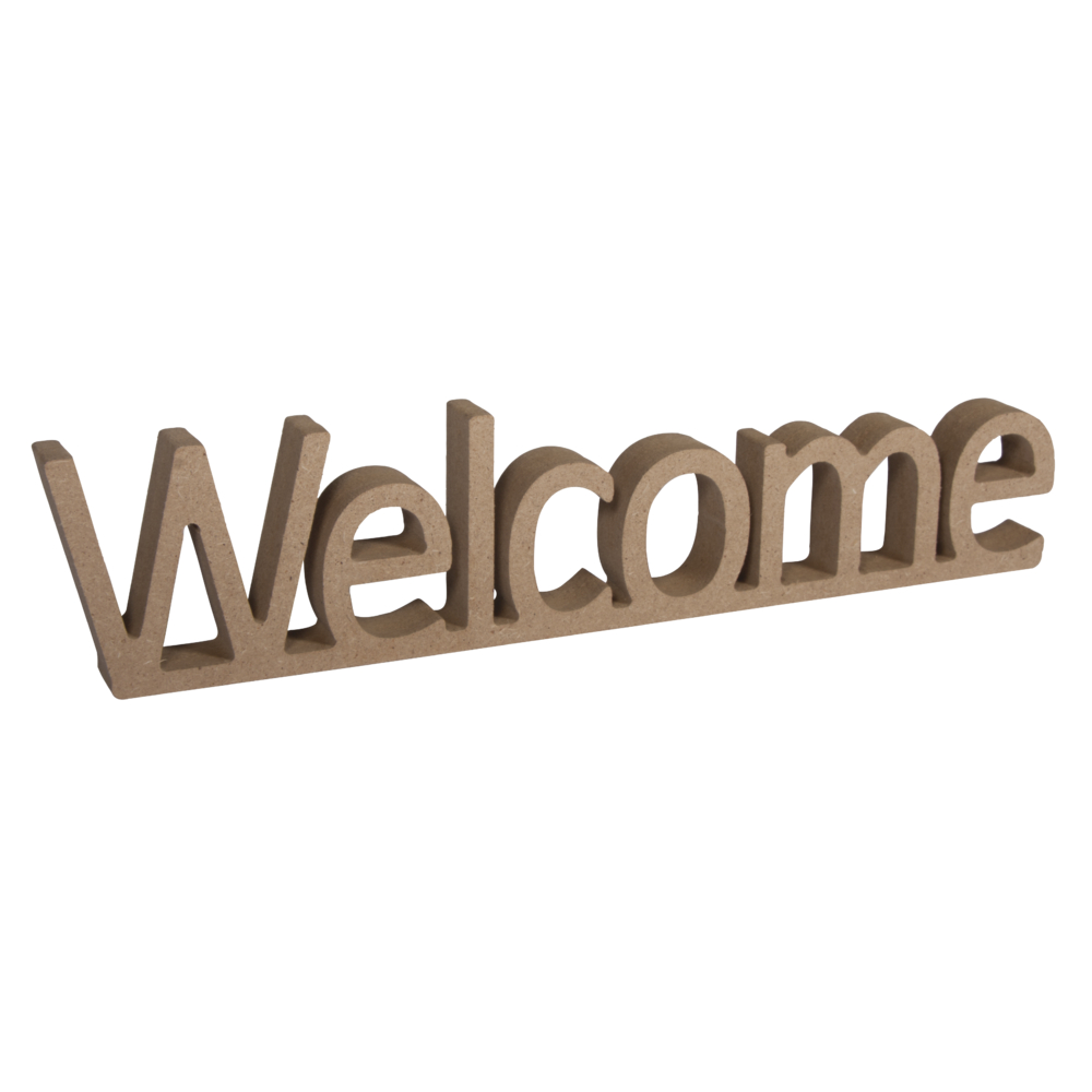 MDF Wort Welcome,FSC Mix Credit, 25x1,5x5,5cm