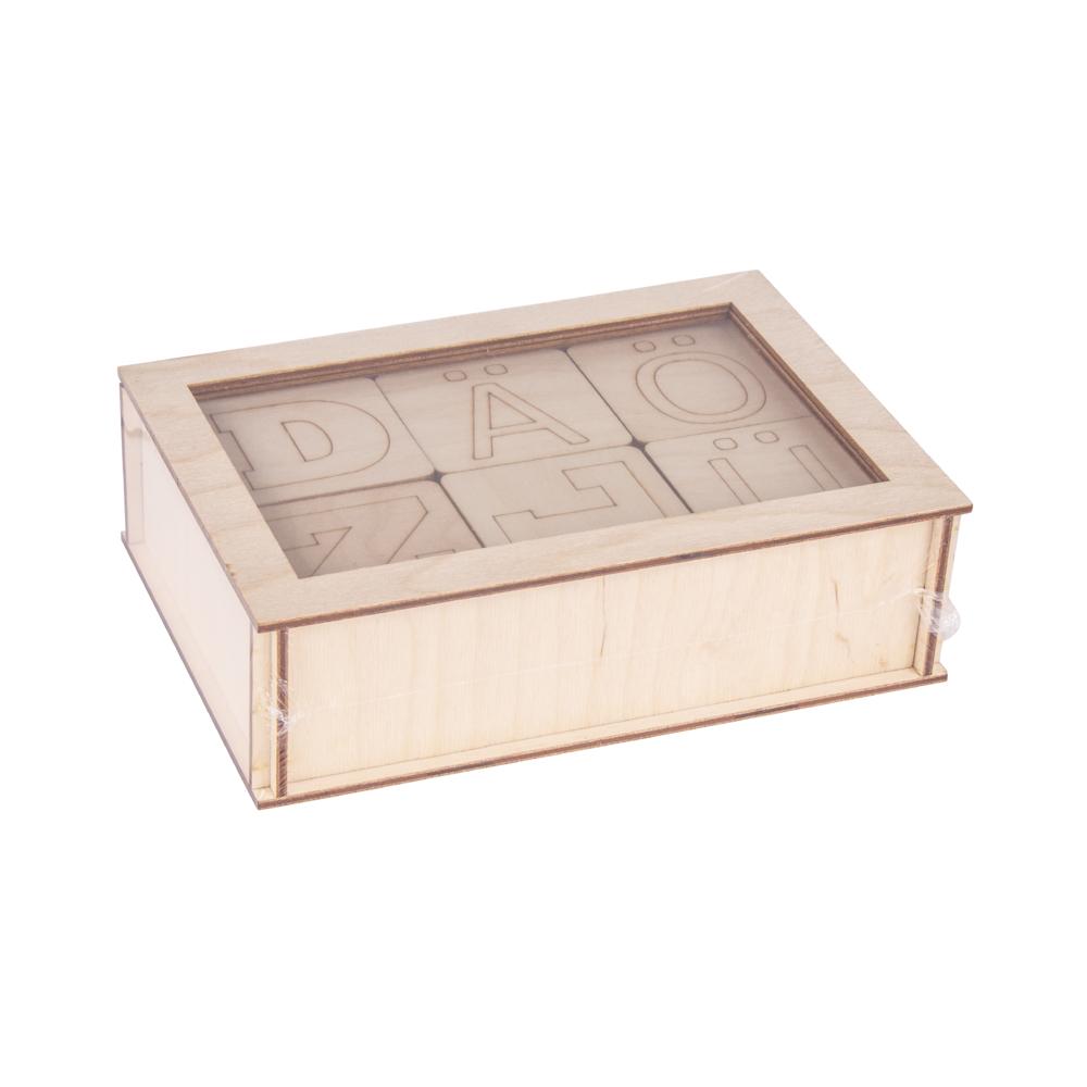 Holz Buchstaben, FSC100%, 6x6x0,4cm, Holz-Box 72Stück