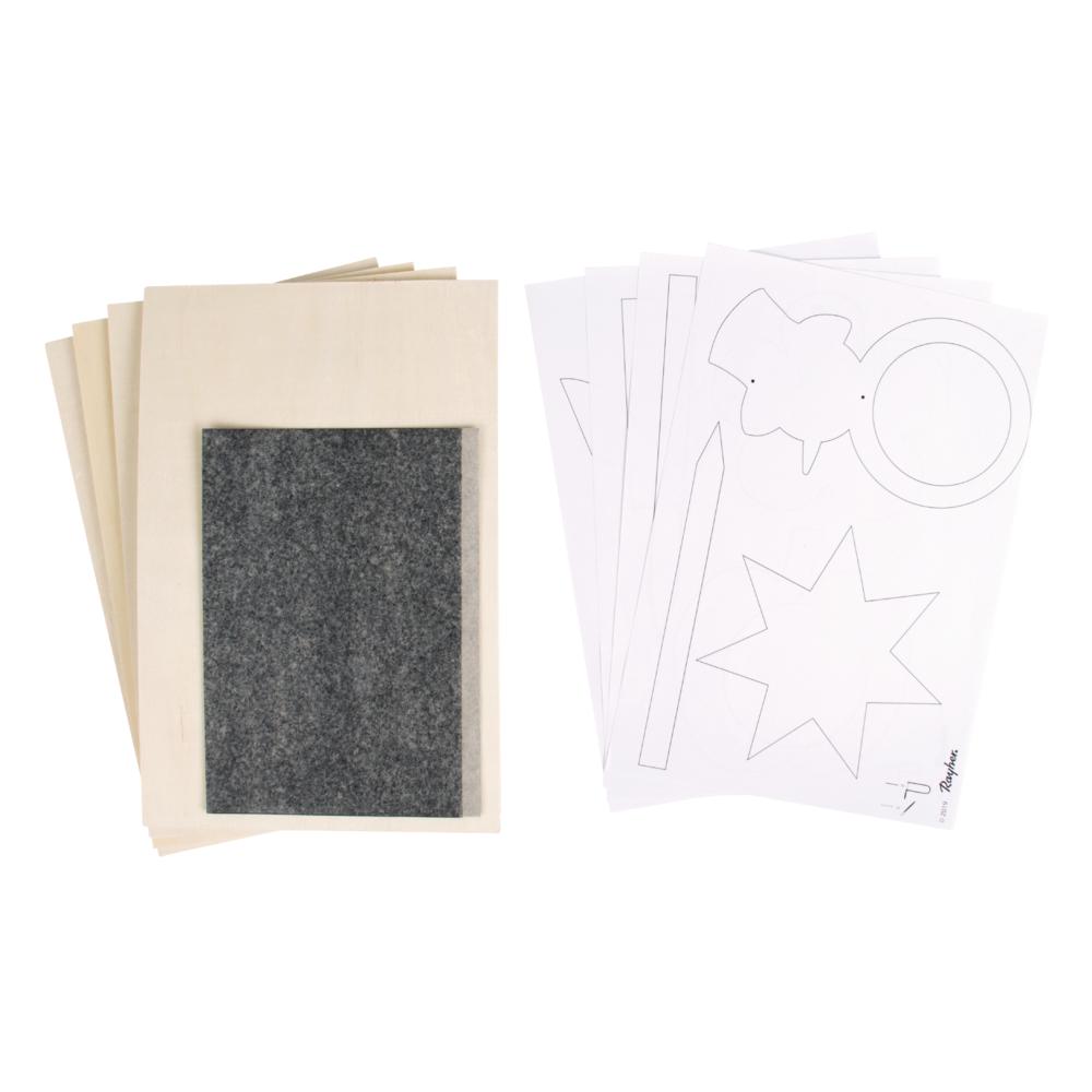 Sperrholzplatten m. Vorlagen- Gartendeko, 300x200x4mm, 4 Platten, Beutel 1Set, natur