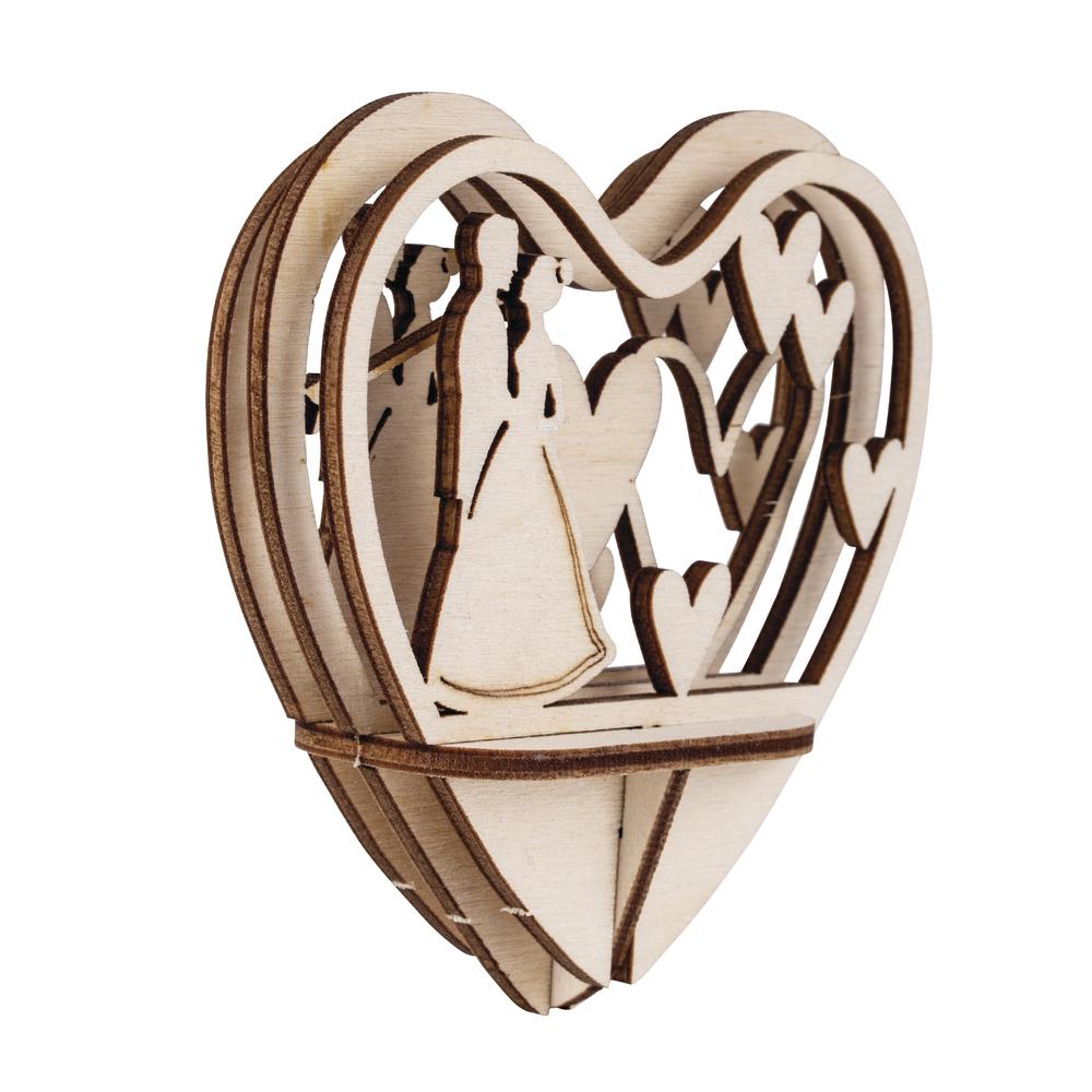 Holz-Steckt. Brautpaar,FSCMixCred, 5-tlg., 10cm Herz, SB-Btl 1Set, natur