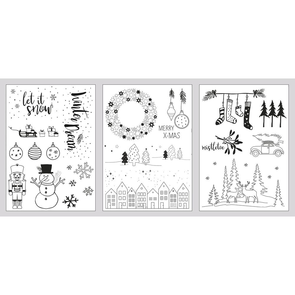 Fenster Malvorlagen Winter/Xmas, 3 Vorlagen + 1 Kreidemarker, SB-Box 1Set